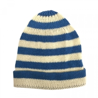 Organic Baby Hat - Hand Knit Blue Stripe - Estella