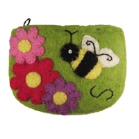 Coin Purse Felted with Bumble Bee