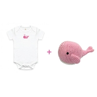 Baby Gift Basket - Organic Onesie and Whale Rattle