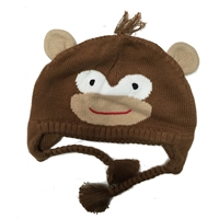 Hand Knit Monkey Ear Flap Hat - Zubels