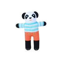 Hand Knit Baby Rattle - Yin the Panda - Zubels