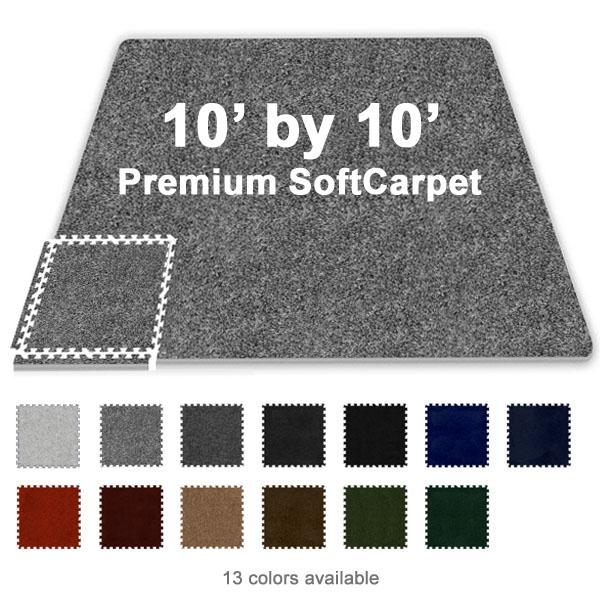 10 ft x 10 ft premium interlocking soft carpet tile for 10x10 floor mat