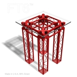 CONTEMPORARY TRUSS TABLE WITH 30 IN SQUARE GLASS TOP