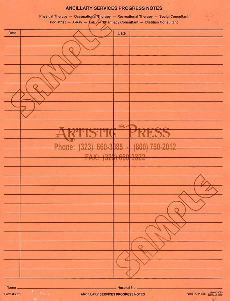 ancillary services progress notes