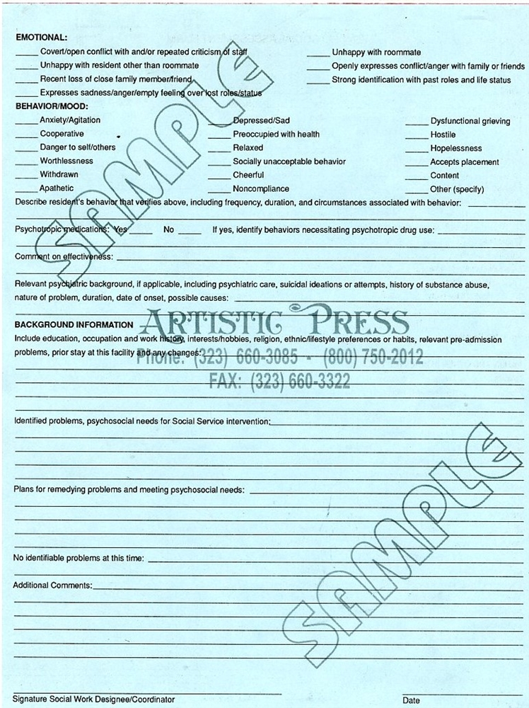 PsychoSocial Assessment Form