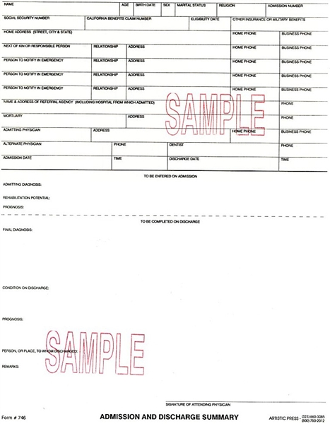 Admission & Discharge Summary - 2 part NCR  w/Card