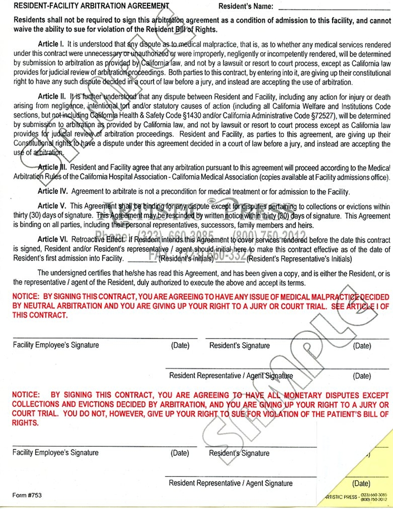 Resident Facility Arbitration Agreement 2 Part Ncr
