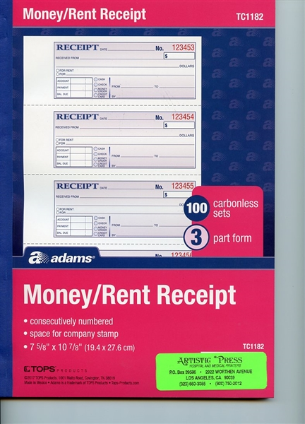 Receipt Book # TC1182