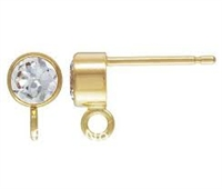 14K Gold Filled 4mm Post with Cubic Zirconia & Loop