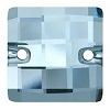 Swarovski 12mm Square Chessboard Sew On Aquamarine