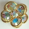2 Tier Channel Flower Button-16mm-CRYSTAL AB/GOLD