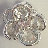 2 Tier Channel Flower Button-16mm-CRYSTAL/SILVER
