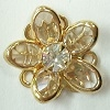 Small Channel Flower Button-14mm-CRYSTAL/GOLD