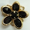 Small Channel Flower Button-14mm-JET/GOLD