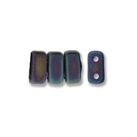 CzechMates 2-Hole Brick Bead - 3mm x 6mm - Matte Iris Blue