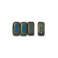 CzechMates 2-Hole Brick Bead - 3mm x 6mm - Matte Iris Green