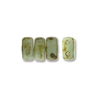 Czech 2-Hole Brick Bead - 3mm x 6mm - Picasso Opaque Pale Turquiose