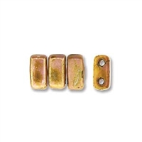 CzechMates 2-Hole Brick Bead - 3mm x 6mm - Luster Opaque Rose/Gold Topaz