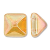 12mm Czech Pyramid Bead- Crystal Apricot