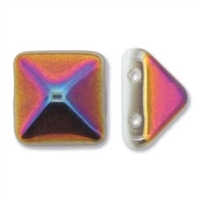 12mm Czech 2-hole Pyramid Bead- White Sliperit