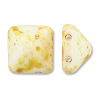 12mm Czech 2-hole Pyramid Bead- White Picasso