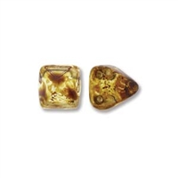 6mm Czech 2-Hole Pyramid Bead- Crystal Picasso
