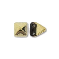 6mm Czech 2-Hole Pyramid Bead- Jet Amber