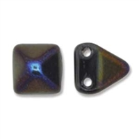 6mm Czech 2-Hole Pyramid Bead- Jet Azuro