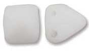 6mm Czech 2-Hole Pyramid Bead - White Matte