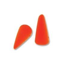 7 x 17mm Czech Pressed Glass Spike Bead- Neon Orange