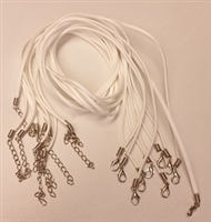 "2mm Flat Faux Suede Finished Necklace- White- 20"" with extender"