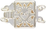 Sterling Silver Heart Filigree Box Clasp - Double Strand