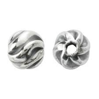 6mm Sterling Silver Round Oxidized Twist Bead