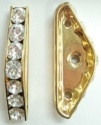 3 Hole Triangle Spacer Bar-6mm Spacing-CRYSTAL/GOLD