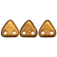 2 hole Triangle Beads-MATTE METALLIC GOLDENROD