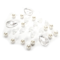 Darice® Vase Filler - White Mix - Acrylic Gems/Flowers/Pearls - 7 ounces