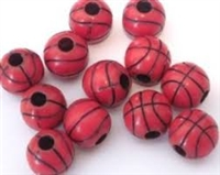 Team Sports Acrylic Basketball Beads - 12 mm - 12pc