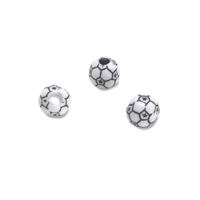 Team Sports Acrylic Soccer Ball Beads - 12 mm - 12pc