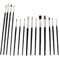 Hawk Assorted Paint Brush Set, Flat and Round - 15 Piece