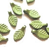 Lucite Leaf Bead - Mini Leaf, Metallic Green, 4mm x 7mm