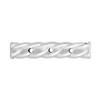 Sterling Silver Twisted Tube Spacer Bar - 3 Strand