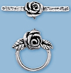 Sterling Silver Rose Toggle