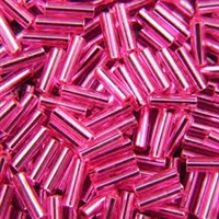 Taiwanese #3 Bugle Bead - Silver Lined Bright Pink #B35P