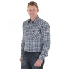 FR122BW Wrangler Work Shirt - Navy Plaid