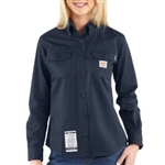 WFRS160 Women's Carhartt Button Work Shirt - Dark Navy