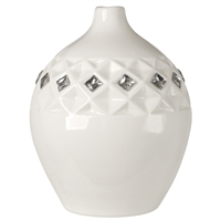 Italian Bone China Vase With Swarovski Crystal White Color