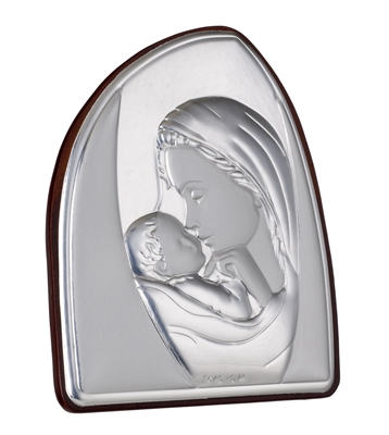 There is no bond more special than that between a mother and child. This elegant religious Icon by Sima Creations features the beauty and shine of 925 Silver while exuding a lighthearted look with its abstract shape. This unique and spirited piece is a pa