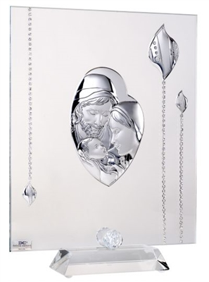 Italian Argento 925 Argento Holy Family Tabletop Icon Adorned With Swarovski Crystal