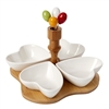 Debora Carlucci 4 Section White Porcelain and Wood Base Serving Dish