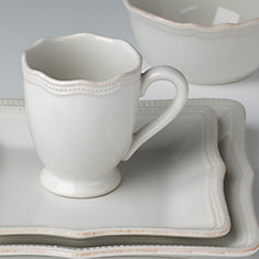French Perle Bead White Square 4-piece Place Setting by Lenox